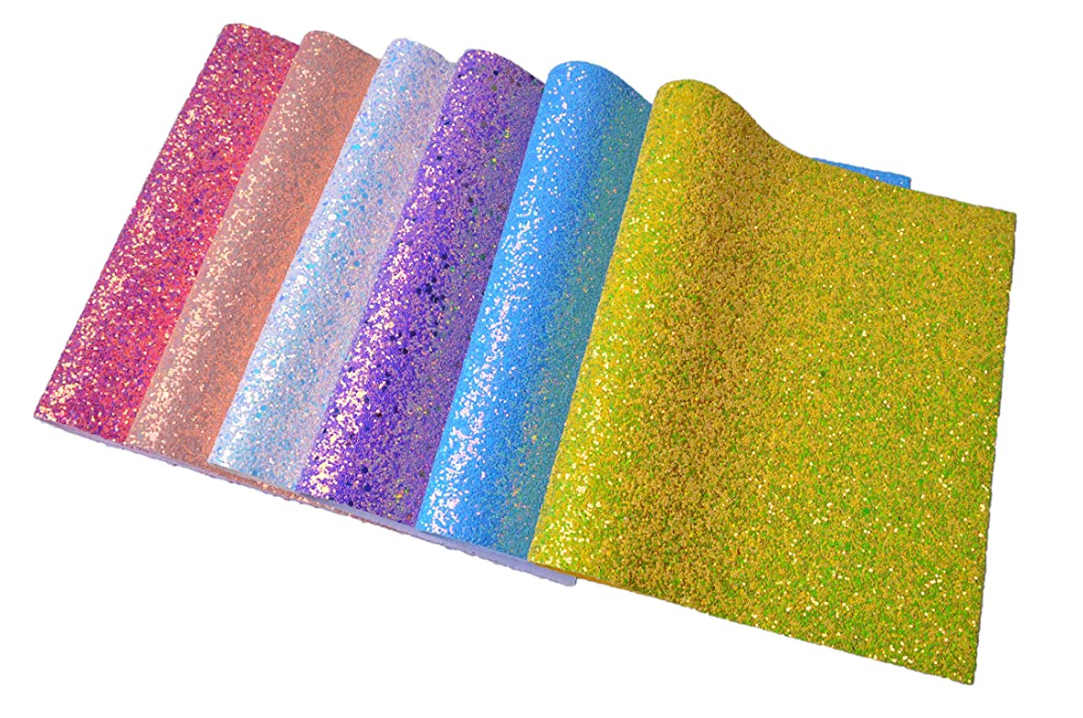 """Wento Assorted Colors 6pcs Chunky Glitter Fabric Sheets,1sq.ft(12"""" x 12"""") Thick Elastic Glitter,Super Sparkly Glitter Fabric for Hair Bows Making,Hair Accessories,Decoration DIY Crafts"""