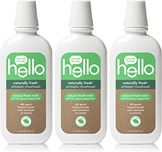 Hello Oral Care Naturally Fresh Antiseptic Fluoride Free Mouthwash, SLS Free Fresh Mint With Farm Grown Peppermint, 3 Count