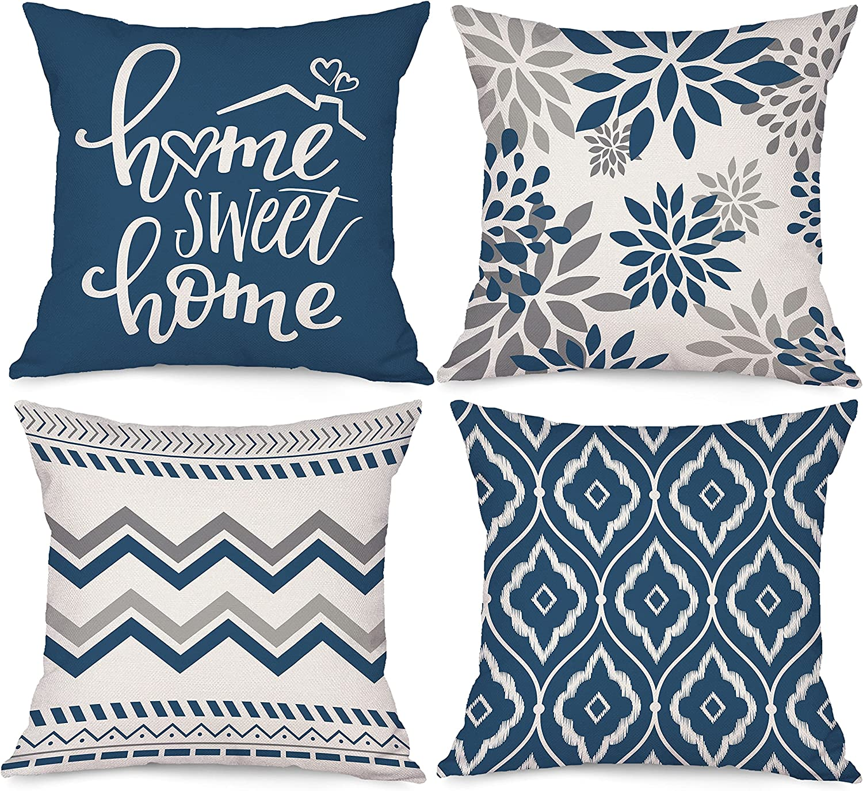 Bonsai Popular brand Tree Blue Pillow NEW before selling ☆ Covers Geometric Decorative 20x20 Throw