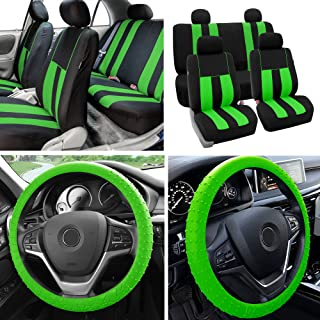 FH Group Fabric Full Set Seat Covers (Airbag & Split) w. Silicone Steering Wheel Cover, Green/Black- Fit Most Car, Truck, SUV, or Van