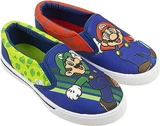 Super Mario Brothers Mario & Luigi Boys Shoes, Nintendo Sneaker Easy Slip-on, Little Kid/Big Kid, Size 10 to 3