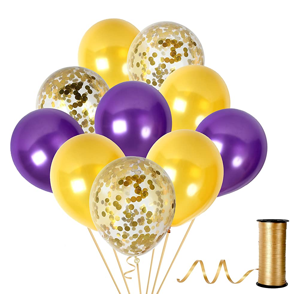 Unicorn Purple and Gold Confetti Balloons Party Decorations for Valentines Day Bridal Shower Birthday Graduation Suplies