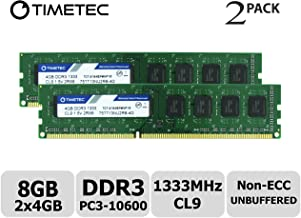 Timetec Hynix IC 8GB Kit (2x4GB) DDR3 1333MHz PC3-10600 Non ECC Unbuffered 1.5V CL9 2R8 Dual Rank 240 Pin UDIMM Desktop PC Computer Memory Ram Module Upgrade (Low Density 8GB Kit (2x4GB))