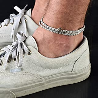 Handmade Gray Anklet For Men Set With Silver Plated Anchor Pendant By Galis Jewelry - Ankle Bracelet For Men - Anchor Anklet For Men