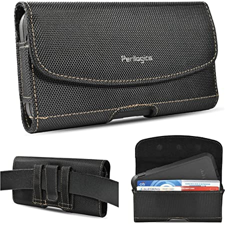 Nylon Belt Holster for iPhone 12, 12 Pro Max, 11, 11 Pro Max, Xs Max, XR, 8 Plus with Rugged Case. Phone Pouch with Chestnut Stitching. Strong Magnetic Cover, Belt Loops, ID Slot (Fits Rugged Case)