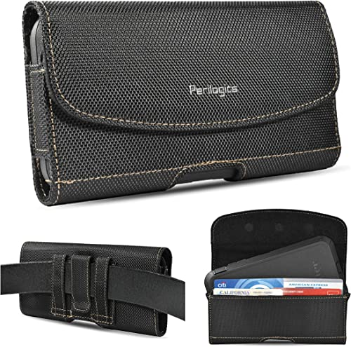 Nylon Belt Holster for iPhone 12, 12 Pro Max, 11, 11 Pro Max, Xs Max, XR, 8 Plus with Rugged Case. Phone Pouch with C...