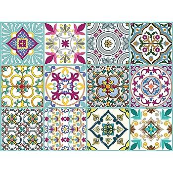 Adhesivo Decorativo para Azulejos para ba/ño y Cocina Valencia Stickers Azulejos Collage de Azulejos Adhesivo para Azulejos 10x10 cm PS00049 Piezas 54