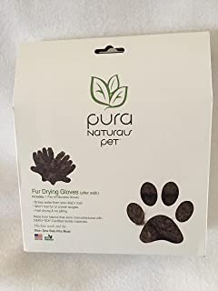 Pura Naturals Pet Dog Fur Drying Gloves - Brown