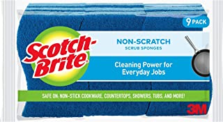 Scotch-Brite Non-Scratch Scrub Sponges, 9 Scrub Sponges, Lasts 50% Longer than the Leading National Value Brand