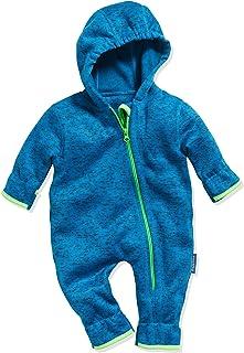 Playshoes Baby Strickfleece-Overall, atmungsaktiver Unisex-Jumpsuit für Jungen und Mädchen mit langem Reißverschluss und Kapuze, meliertes Muster