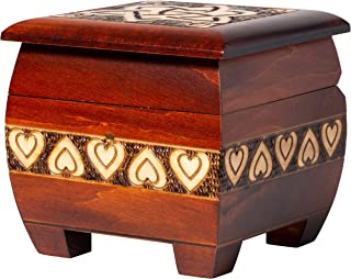 """Artisan Owl Polish Handmade Trinity and Heart 5"""" Wooden Chest, Including Lock and Key, with Red Interior, Perfect for Keep..."""
