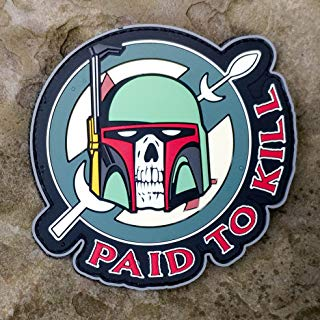 NEO Tactical Gear Boba Fett - Paid to Kill - Mandalorian Crest Star Wars PVC Morale Patch - Hook Backed