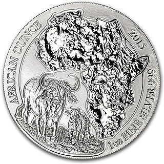 2015 DE Rwanda 1 oz Silver African Buffalo BU 1 OZ Brilliant Uncirculated