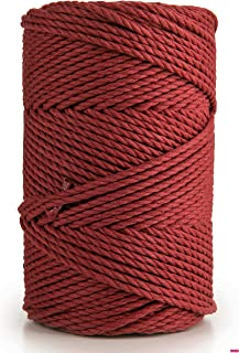 MB Cordas Macrame Cord 3mm x 135m Soft 3 Strand Twisted Cotton Rope for Handmade, Cotton Yarn String for Plant Hanger, Wal...