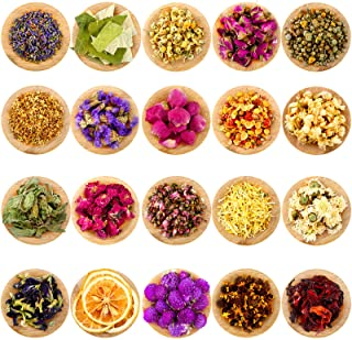 20 Packs Dried Flower Herbs Dried Flowers for Soap Making Natural Dried Flower Herbs Kit, Rosebuds, Lavender, Chrysanthemu...