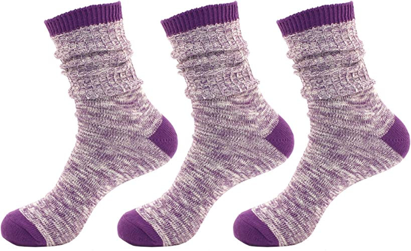 BambooMN Wohommes Vintage Style Slouch démarrage Cotton Fall Winter Crew Socks - 3 Pairs (violet)