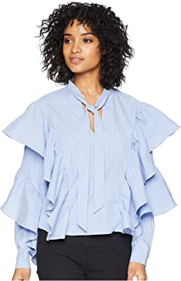 Ribbon Tie Neckline with Exaggerated Sleeves Top