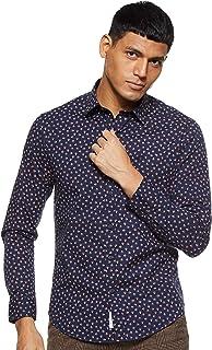 Octave Men's Poplin Printed Casual Shirt, Navy