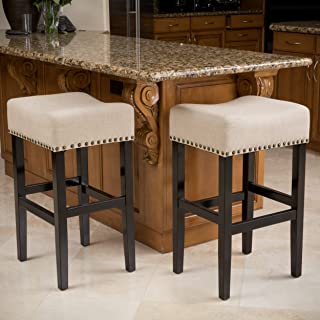 Great Deal Furniture Chantal Beige Linen Fabric Counter Stools (Set of 2)