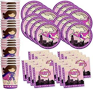 Superhero Girl Birthday Party Supplies Set Plates Napkins Cups Tableware Kit for 16