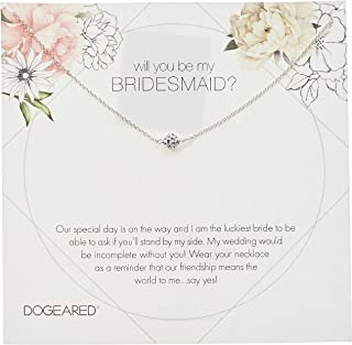 Will You Be My Bridesmaid Flower Card Pave Sparkle Ball Chain Necklace, 16