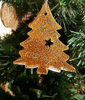 Colgantes Árbol Navidad Dorados. Adornos de navidad originales. Producto natural y hecho a mano. Decoración de hogar para ...