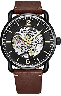Stuhrling Original Skeleton Watches for Men - Mens Automatic Watch Self Winding Mens Dress Watch - Mens Leather Watch Mechanical Watch for Men