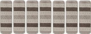 Ottomanson Softy Grey Striped Design Set of 7 Skid Resistant Rubber Backing Non Slip Carpet (9