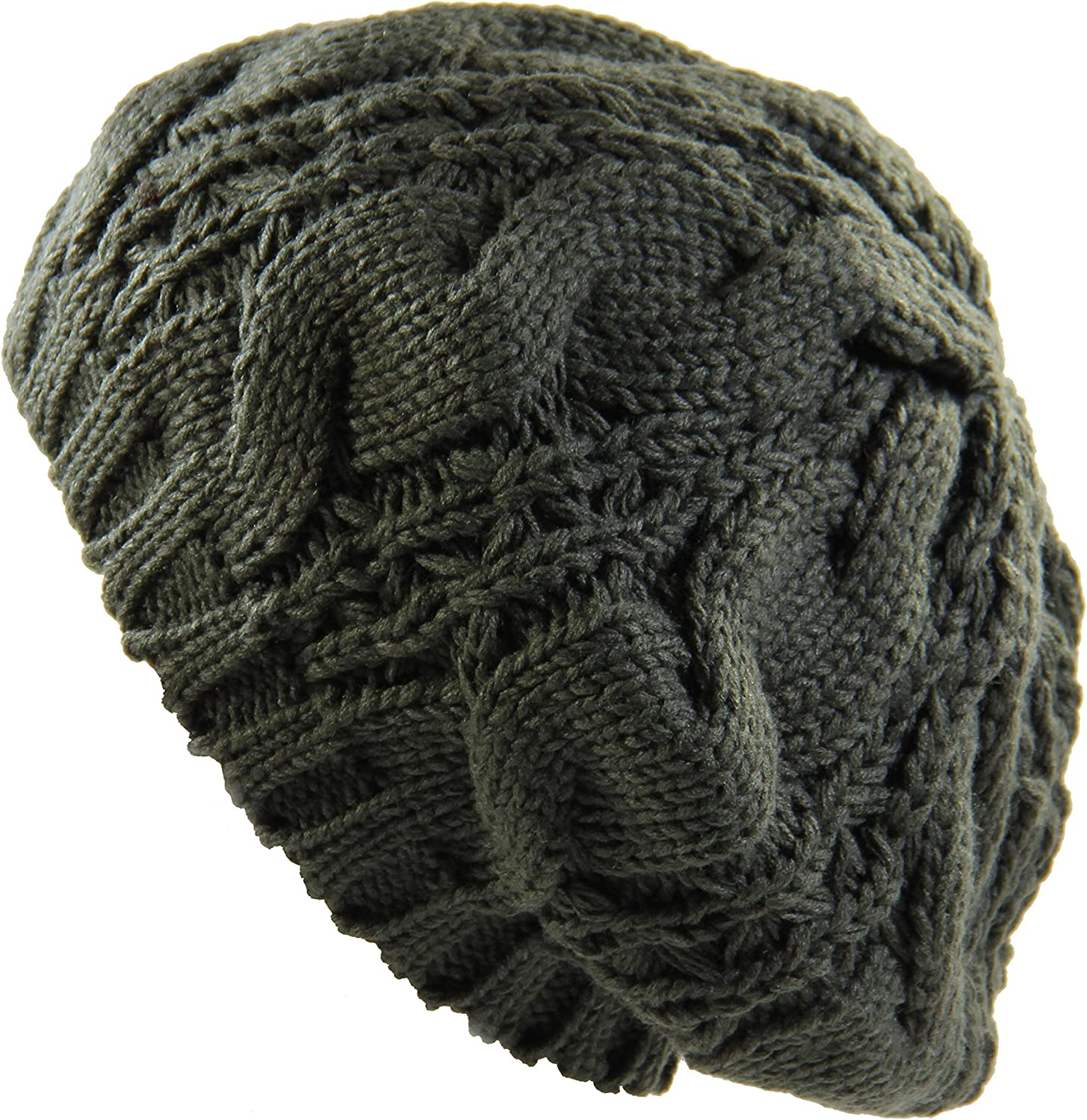 RW Warm Chuncky Knit Over Size Cable Beanie Beret(More Colors)