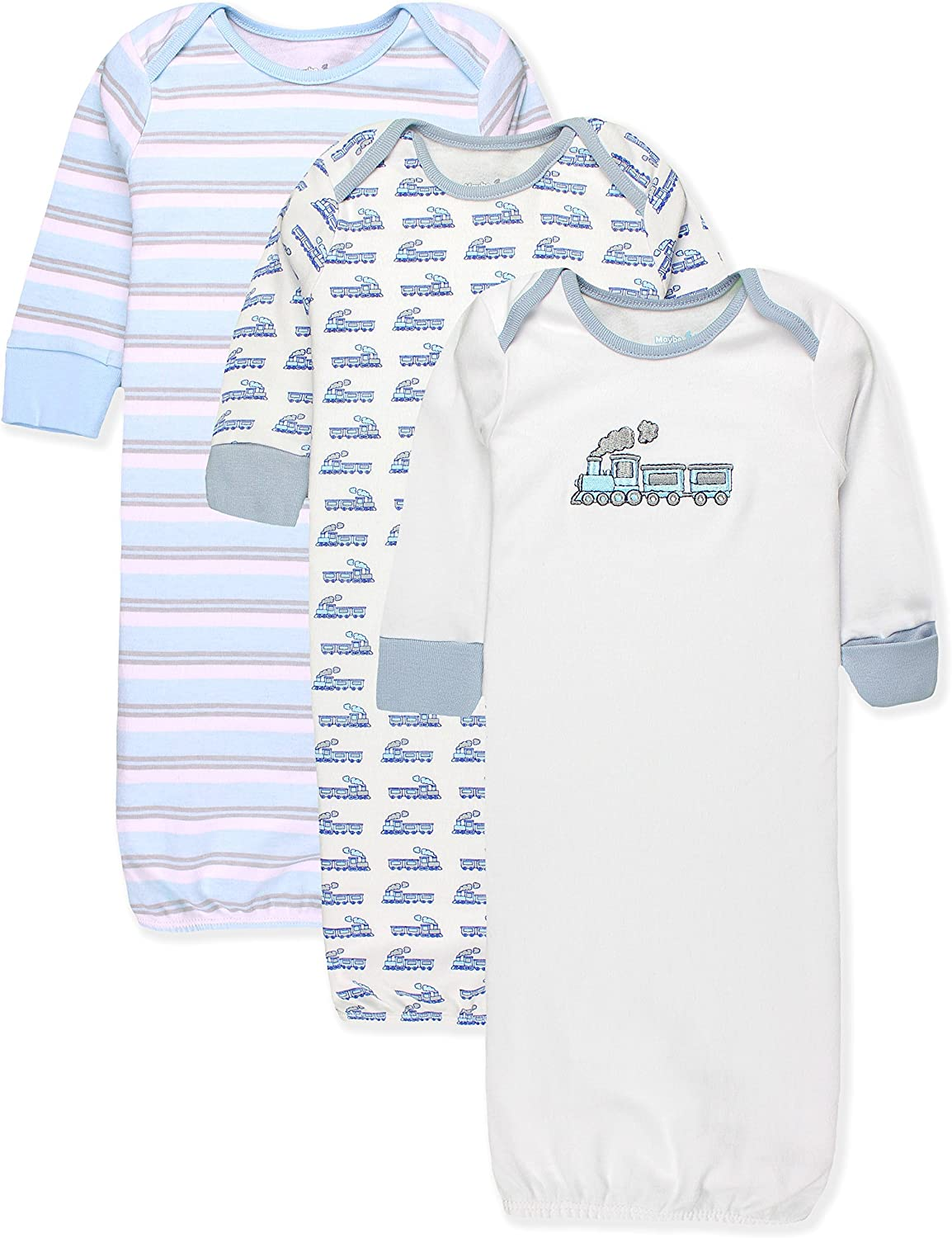 Maybe Baby Kids Infant Boys and Girls 3 Pack Set Cotton Baby Nightgowns w//Mitten Cuffs 0-6 Months