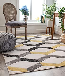 """Well Woven Good Vibes Millie Gold Modern Zigzag Stripes 7`10"""" x 10`6"""" 3D Texture Area Rug"""