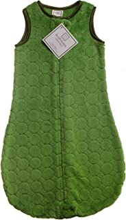 SwaddleDesigns Microfleece Sleeping Sack with 2-Way Zipper, Pure Green Puff Circles, 6-12MO