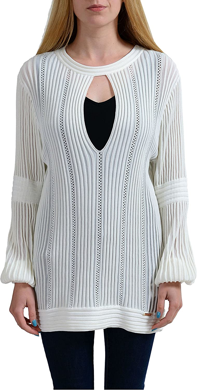 Just Cavalli Ivory Keyhole Knitted Women's Sweater US S IT 40
