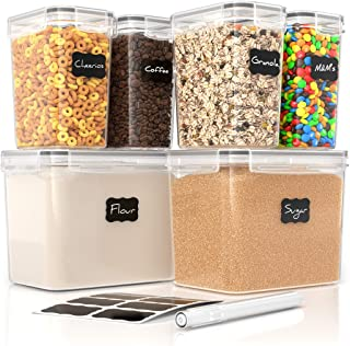 Simply Gourmet Airtight Food Storage Containers - Set of 6 Flour and Sugar Canisters for Pantry Storage and Organization -...