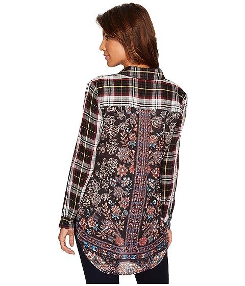 w Back Long Sleeve Plaid Tribal Printed Detail Shirt wFIqvA