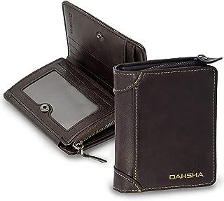 DAHSHA Imported 8 Slot Leather Credit Debit Zipper Card Holder Wallet with ID Window for Men & Women (9.5 x 2.5 X 12cm, Brown)