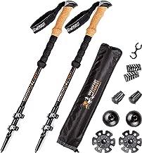 Carbon Cork Trekking Poles Collapsible Women Kids Men, Premium Hiking Poles, Lightweight Walking Sticks, Walking Poles perfect for Backpacking - All Seasons Trek Pole, Quick-Lock & EVA Grips