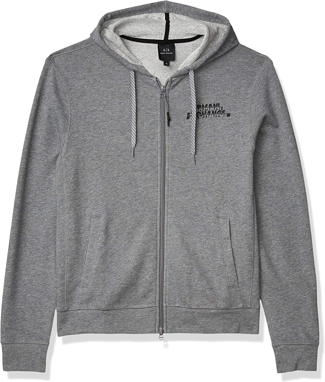 AX Armani Exchange Men's Split Easy-to-use Sweatshirt Colorado Springs Mall Zip Hooded Logo Full
