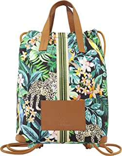 CODELLO Damen Rucksack | Exotik-Design | 100% Baumwolle Canvas | 42 x 32 x 17 cm