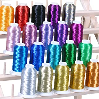20 Metallic Embroidery Threads 1100 Yards for Computerized Machines Works with Brother Babylock Janome Singer Pfaff Husqvaran Bernina Machine
