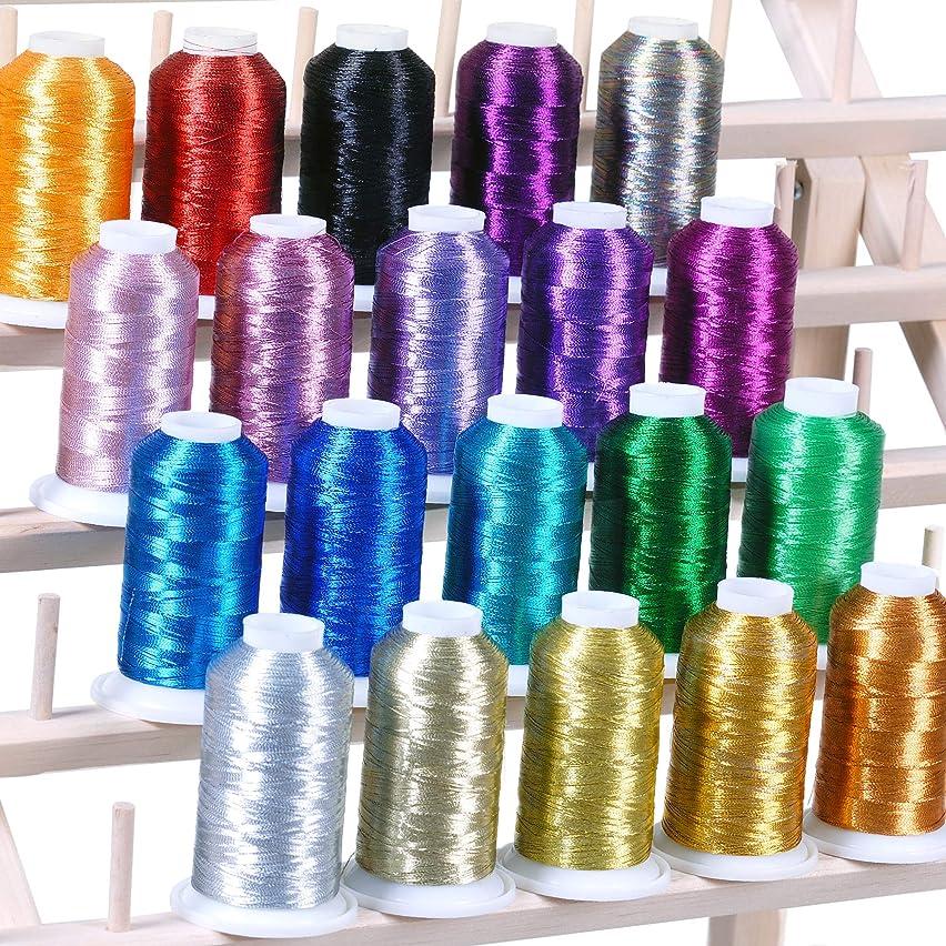 20 Metallic Embroidery Threads 1100 yards for Computerized Machines For Brother Babylock Janome Singer Pfaff Husqvaran Bernina Machine