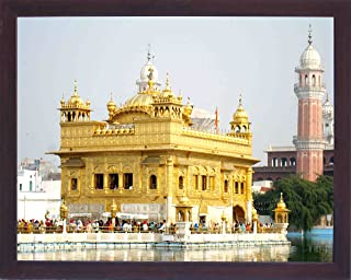 A View Front of Golden Temple, Seventh Wonder of The World, A Sikh Religious Painting Poster with Frame for Sikh Family Home/Office / Gift Purpose/Sikh Religious/Gurudwara Gift