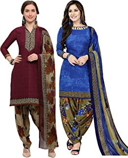 Rajnandini Women's Maroon and Blue Crepe Printed Unstitched Salwar Suit Material (Combo Of 2) (Free Size)