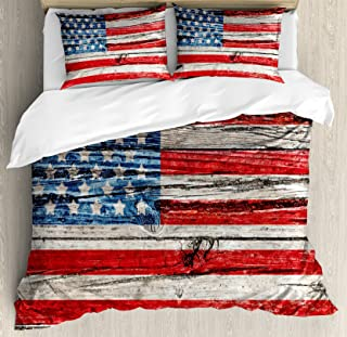 Ambesonne USA Duvet Cover Set, Fourth of July Independence Day Painted Wooden Panel Wall Looking Image Freedom, Decorative 3 Piece Bedding Set with 2 Pillow Shams, Queen Size, Blue and Red