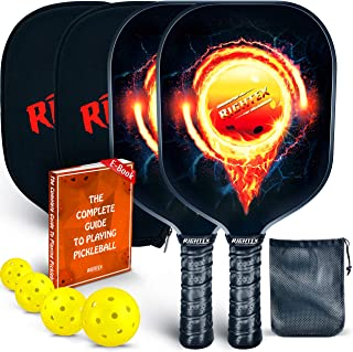 Rightex Pickleball Paddle Racket Set –Graphite Surface & Polypropylene Honeycomb Core –Includes 2 Graphite Paddles + 4 x 40 Hole USAPA Balls + 1 Net Pickleball Carrying Bag + 2 Paddle Covers