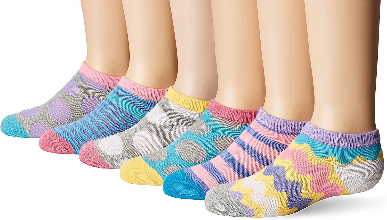 Jefferies Socks Womens Sport Low Cut No Show Ankle Rainbow Tab Cotton Socks 6PK
