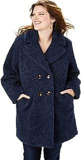 Roamans Women's Plus Size Button Teddy Bear Coat