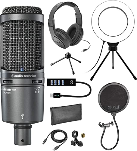"""new arrival Audio-Technica AT2020USB+ Cardioid Condenser Microphone with Built-in Headphone Jack & Volume Control Bundle with Blucoil Pop Filter, 6"""" Ring Light, USB-A new arrival Mini Hub, and Samson outlet sale SR350 Headphones online sale"""