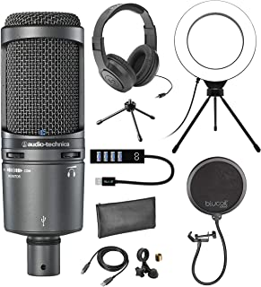 Audio-Technica AT2020USB+ Cardioid Condenser Microphone for Windows and Mac Bundle with Samson SR350 Over Ear Stereo Headp...