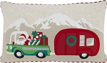 "Saro Lifestyle Design Santa Truck and Trailer Pillow Cover, 14"" x 24"", Multi"